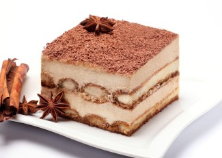 piece of tiramisu on white plate